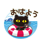 黒ねこ×夏の日常(個別スタンプ:06)