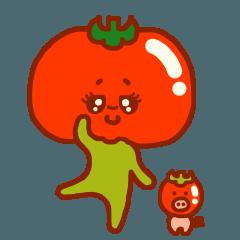 とめ子とミニトマ豚(緑)