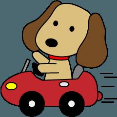 犬と愉快な乗り物