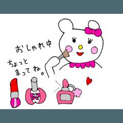 ピンク大好きな可愛いくまちゃんスタンプ
