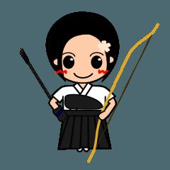 弓道少女碧月さんの弓道用行動ステッカー