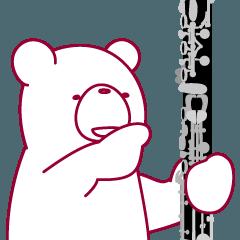 動くクマ。ドイツクラリネットを吹きます。