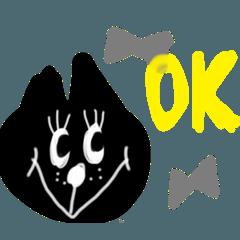黒ネコの日常に使えるスタンプです。