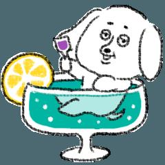 littletreeの白い犬スタンプ