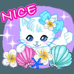 [LINEスタンプ] ハワイのお花大好き白猫ちゃん英語版