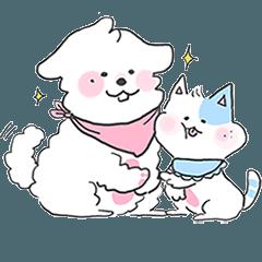 peach puppy & half moon cat (baby ver)