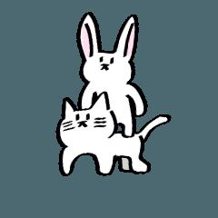 ネコ?とウサギ?スタンプ