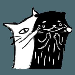 カワウソと猫