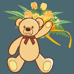 花とテディベアの英語スタンプ
