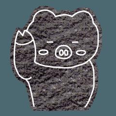 モノクロームの豚
