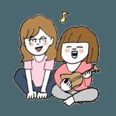 [LINEスタンプ] 関西弁二人暮らしスタンプ〜ロブ子&カニ美 (1)