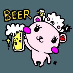 ぴんくのくま♡ビール大好き