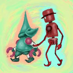 赤ロボくんと緑ロボちゃん