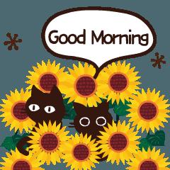 [LINEスタンプ] 動く!大人かわいい日常ことば-夏-黒猫Ver