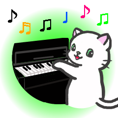 楽器演奏するネコ